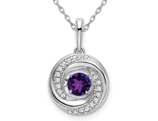 1/3 Carat (ctw) Natural Amethyst Circle Pendant Necklace in 14K White Gold with Diamonds and Chain