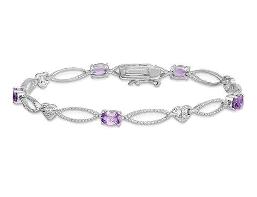 1.50 Carat (ctw) Amethyst Bracelet in Sterling Silver