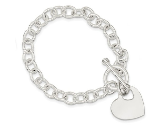 Sterling Silver Heart Charm Polished Toggle Bracelet