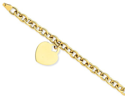 14K Yellow Gold Heart Charm Bracelet (7.25 Inches)