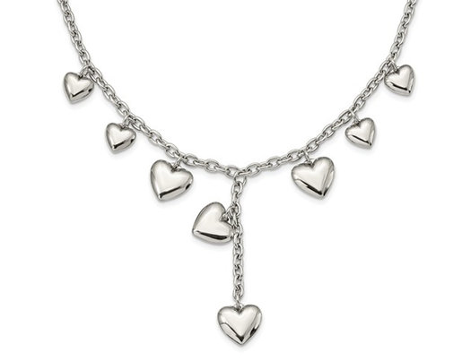 Stainless Steel Polished Hearts 18 Inches Y Necklace