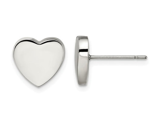 Stainless Steel Polished Small Heart Post Earrings