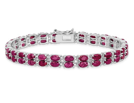 21.60 Carat (ctw) Natural Ruby Two Row Bracelet in Rhodium Plated Sterling Silver