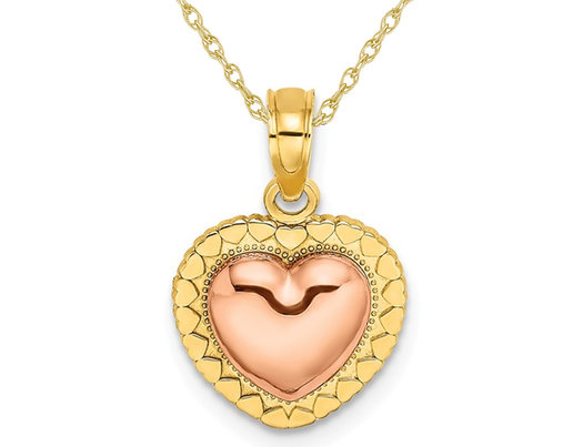 14K Yellow and Rose Pink Gold Heart Charm Pendant Necklace with Chain