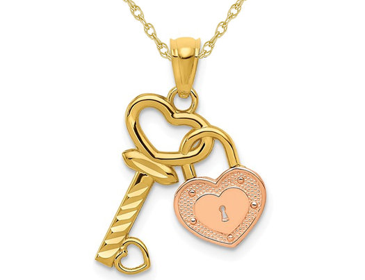 14K Yellow and Rose Gold Key & Heart Locket Pendant Necklace with Chain