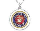 U.S. Marine Corps Pendant Necklace Disc in Sterling Silver with Chain
