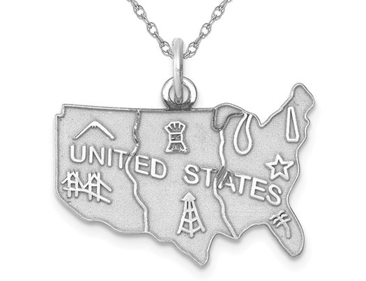 Sterling Silver United States Polished Charm Pendant Necklace with Chain