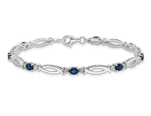 1.80 Carat (ctw) Natural  Blue Sapphire Bracelet in Sterling Silver