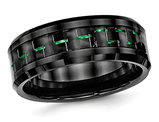 Ceramic Black with Green Carbon Fiber Beveled Edge Wedding Band Ring