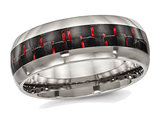 Polished Titanium with Red Carbon Fiber Wedding Band Ring