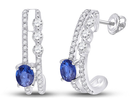 1/2 Carat (ctw) Natural Blue Sapphire J-Hoop Earrings in 14K White Gold with Diamonds