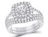 1.60 Carat (ctw G-H, I1-I2) Halo Diamond Engagement Ring and Wedding Band in 14K White Gold