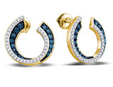 3/4 Carat (ctw G-H, I1-I2) Blue Diamond Circle Earrings in 10K Yellow Gold