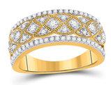 14K Yellow Gold 1/2 Carat (ctw G-H, I1-I2) Diamond Band Ring