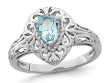 1/2 Carat (ctw) Natural Pear-Cut Aquamarine Ring in Sterling Silver