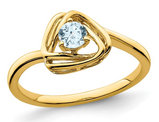 1/4 carat (ctw) Genuine Aquamarine Ring in 14K Yellow Gold