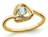 1/4 carat (ctw) Genuine Aquamarine Ring in 14K Yellow Gold