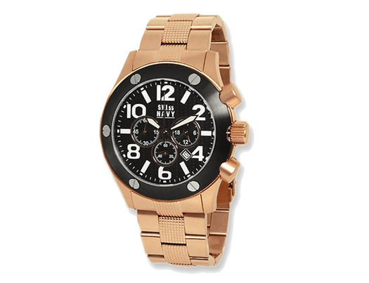 Men's SWI55 Navy Cannon Rose Plated Chronograph Watch