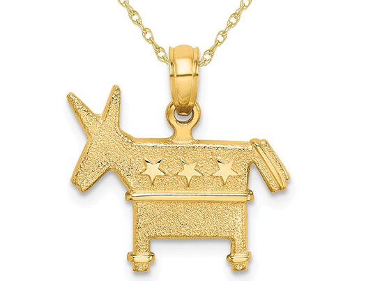 Democratic Donkey Mascot Charm Pendant Necklace in 14K Yellow Gold with Chain