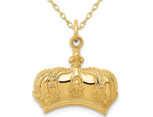14K Yellow Gold Fleur De Lis Crown Charm Pendant Necklace with Chain