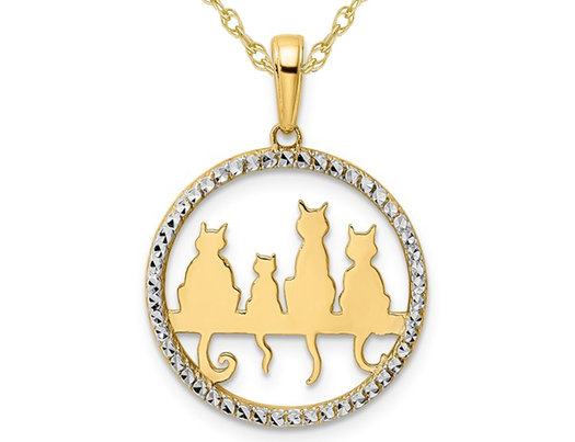 14K Yellow Gold Sitting Cats Pendant Necklace with Chain