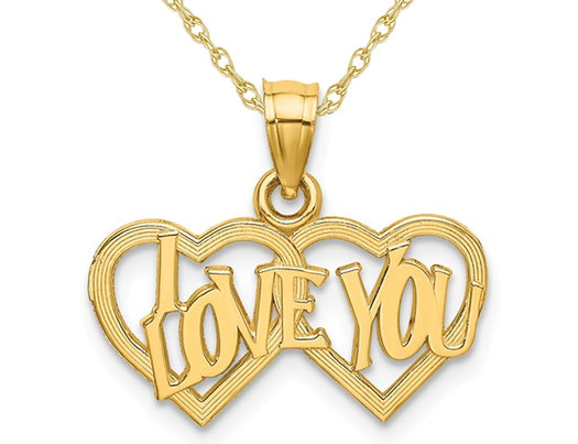 14K Yellow Gold I LOVE YOU Double Heart Pendant Necklace with Chain