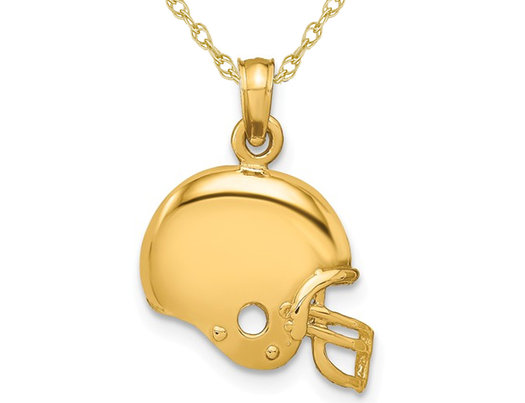 14K Yelllow Gold Football Helmet Charm Pendant Necklace with Chain