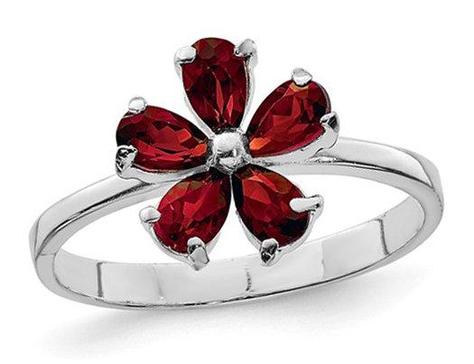 Sterling Silver Rhodium Plated Red Garnet Flower Ring 1/2 Carat  (ctw)