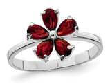 Sterling Silver Rhodium Plated Red Garnet Flower Ring 1/2 Carat  (ctw)