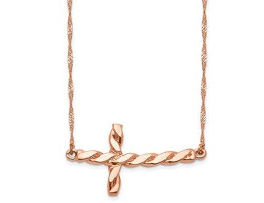 14K Rose Pink Gold Twisted Sideways Cross Necklace