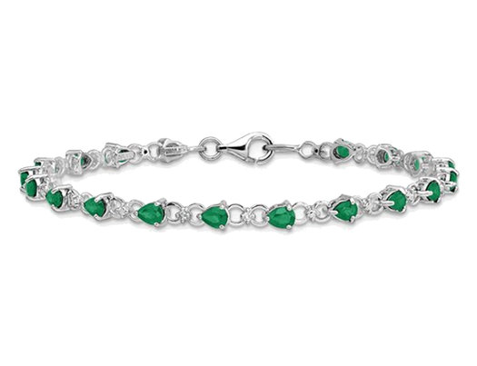 Sterling Silver Natural Emerald Infinity Bracelet 3.45 Carat (ctw)