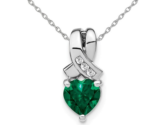 1.00 Carat (ctw) Lab-Created Emerald Heart Pendant Necklace in Sterling Silver with Diamond Accent and Chain