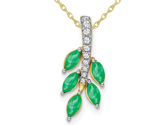 1/4 Carat (ctw) Natural Emerald Vine Leaf Pendant Necklace in 14K Yellow Gold with Chain