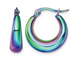 Stainless Steel Polished Rainbow Hoop Earrings