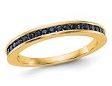 2/5 Carat Natural Dark Blue Sapphire Wedding Band in 14K White Gold