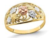 Ladies 14K Yellow Two Tone Flower Gold Ring