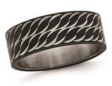 Men's or Ladies Black Plated Stainless Steel Diamond Cut Ring Band