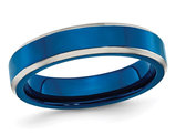 Men's or Ladies Blue IP Plated Stainless Steel 5mm Band Ring