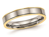 Ladies or Men's 5mm Titanium Yellow Plated Comfort Fit Wedding Band