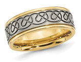 Men's Yellow Plated Titanium 8mm Wedding Band Ring