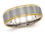 Grooved Stainless Steel 6mm Wedding Band with Yellow Plating