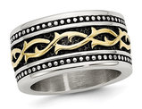 Men's Antiqued Stainless Steel 13.25mm Band with Yellow Plating