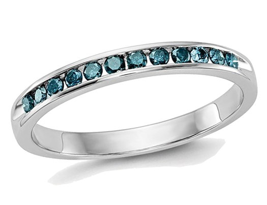 1/4 Carat (ctw) Blue Diamond Wedding Band in 14K White Gold
