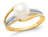 14K Yellow Gold Freshwater Cultured Pearl Ring with Accent Diamonds
