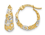 14K Yellow and White Gold Polished Hoop Earrings