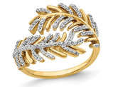 14K Yellow Gold Feather Ring with Diamonds 1/4 Carat (ctw)