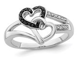 Black and White Diamond Accent Heart Promise Ring in Sterling Silver