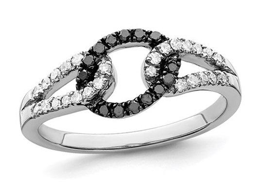 1/4 Carat (ctw) Black & White Diamond Ring in Sterling Silver