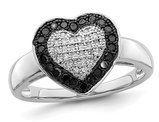 1/4 Carat (ctw) Black and White Diamond Heart Promise Ring in Sterling Silver
