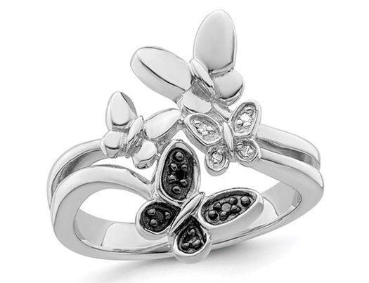 2/5 Carat (ctw) Black & White Diamond Butterfly Ring in Sterling Silver
